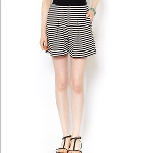 Lucy Paris Black White High Waisted Striped Shorts